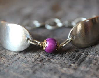 Gorgeous Antique Spoon Bracelet with Purple Bead Charm - FREE shipping!