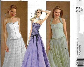 McCall's M4833 Evening Elegance Lace Up Corset Top And Skirt Dress Sewing Pattern UNCUT Size 4, 6, 8, 10