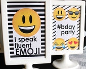 EMOJI Birthday party SIGNS - CUSTOM Emoji Birthday- Emoji Party - Emoji Sleepover - Social Media Party - Printable Party Pack Collection