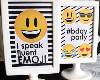 EMOJI Birthday party SIGNS - CUSTOM Emoji Birthday- Emoji Party - Emoji Sleepover - Social Media Party - Emoji party signs - printables