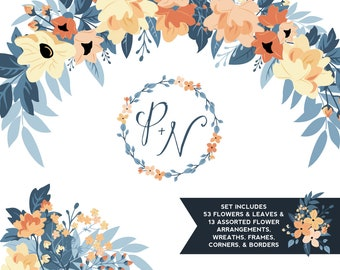 Peach & Navy Peony Floral ClipArt | Leaves Wreaths Branches and Borders for Stationery, Wedding Invites, and Products | Navy Greenery