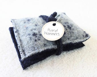 Pocket Hand Warmers BLUE & NAVY Reusable Felted Sweater Wool Handwarmers Rice Bags Ecofriendly Teacher Coworker Kids Gift by WormeWoole