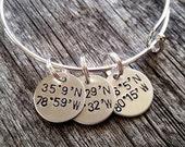 SALE Latitude Bracelet - Latitude Longitude Bracelet - Coordinates Bracelet - Gift For Mom - Gift for Girlfriend - Silver Bangle - Location