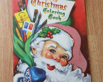 "Vintage 1954 Large Whitman ""Merry Christmas Coloring Book"""