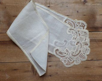 Antique French wedding scarf with handmade lace