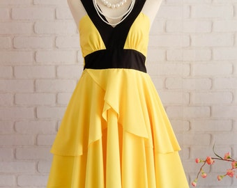 Lemon yellow Retro vintage dress style party Retro dress lemon prom dress yellow cocktail dress lemon yellow bridesmaid dress yellow dress
