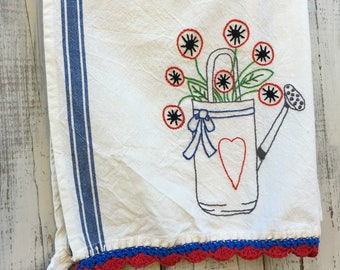 Hand Embroidered Patriotic Poppies in Watering Can Towel Red White and Blue