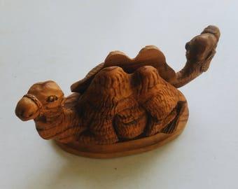 Vintage Carved Wood Camel Letter Holder - Wooden Moroccan Bohemian Desk Accessories - Boho Office