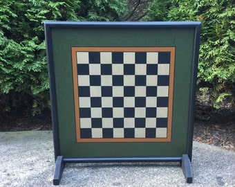 """19"""", Checkerboard, Primitive, Wood, Hand Painted, Folk Art, Wooden, Chess, Checker Board, Checkers"""