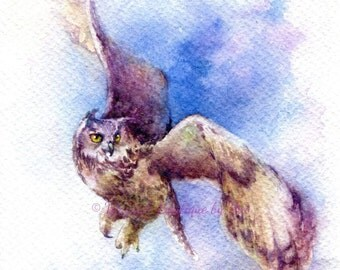 """PRINT - Flutter Watercolor painting 7.5 x 11"""""""
