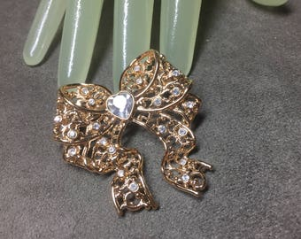 "Vintage 2"" Godldtone Clear Rhinestone Accented Large Bow Style Pin"