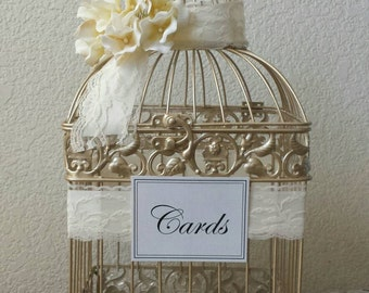 Ivory Small Champagne Bird Cage-Wedding card holder