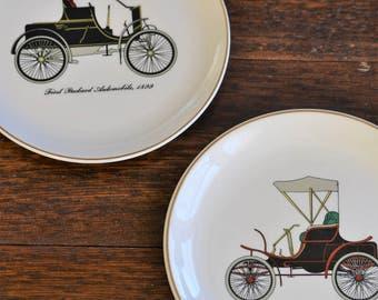 Salem Automobile Salad / Decorative Wall Plate Packard & Winton 23K Gold Trim Vintage Collectible