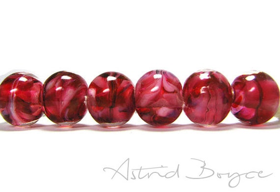 Monochromatic Lampwork Glass Floral Beads- Rose Petals - Artisan Glass in Deep Pink Rose and White Tones -Translucent Transparent SRA -B-195