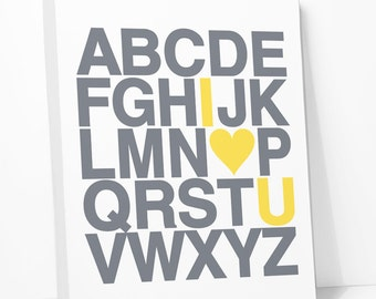 I Love You Alphabet Canvas Wall Art Kids Print, Yellow Gray Baby Nursery Art, ABC Picture, Many Sizes, Ready to Hang