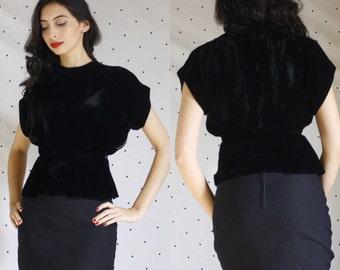 1940s 40s black peplum velvet blouse//40s black velvet blouse// pinup 40s VLV Peplum blouse s small