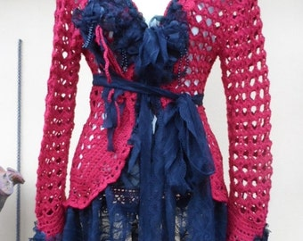 20%OFF vintage inspired red crochet jacket with lace ruffles and shabby roses....small to 40""