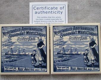 2 Blue & White DELFT Tiles- HOLLAND AMERICA Souvenir