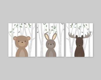 Woodland Nursery Art, Forest Animals Nursery Art, Woodland creatures, Forest Friends Nursery Decor Woodland Animals Bear Rabbit Moose