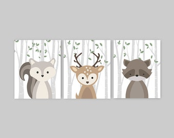 Woodland Nursery Decor Set of 3 Forest Animal Prints Baby Animal Prints Squirrel Deer Raccoon Set Baby Girl Baby Boy
