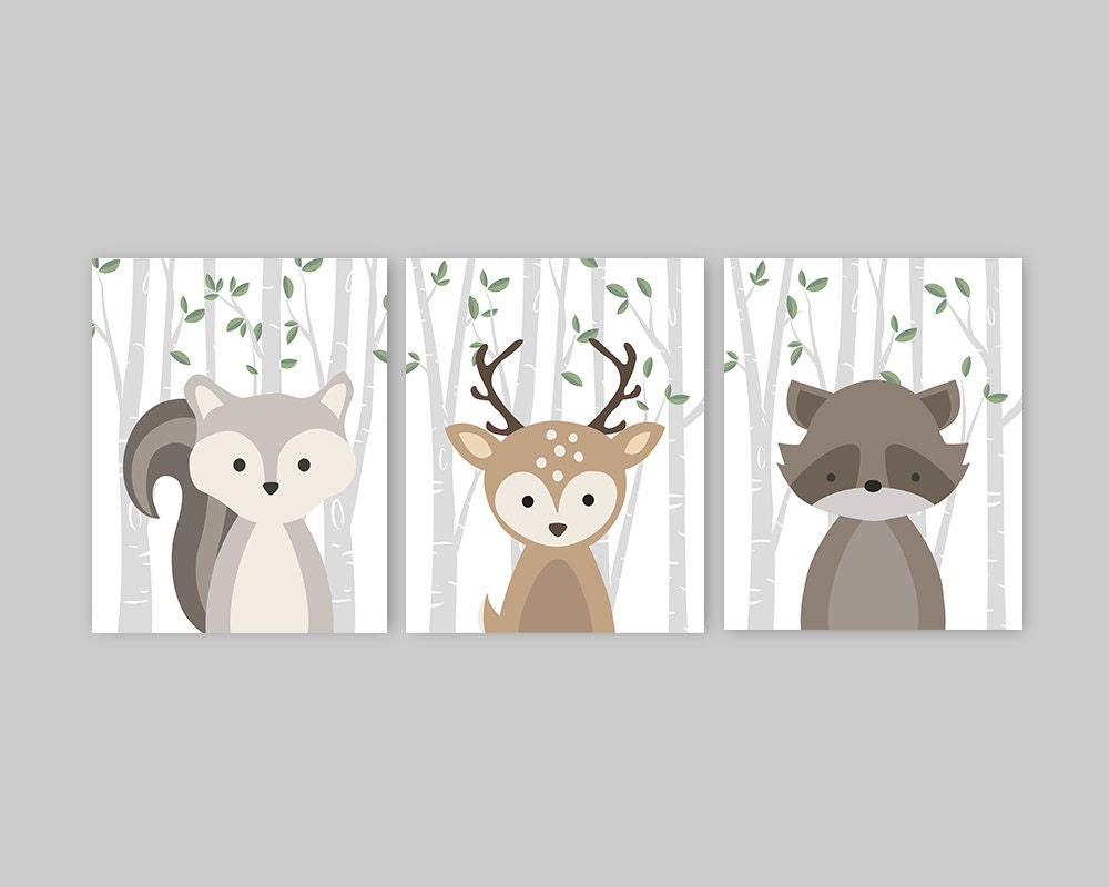 Woodland nursery decor set of 3 forest animal prints baby for Animal decoration