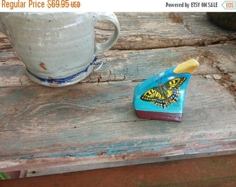 """Hand Painted Found Object Butterfly Ornament Desk Decoration Dr. Lane Brigham 3"""" x 3-1/2"""""""