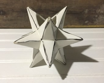 Star vase white mid century modern decor christmas