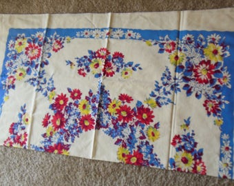 Vintage Floral Print Tablecloth Tagged Queen Anne Indian Head,  1950s Tablecloth