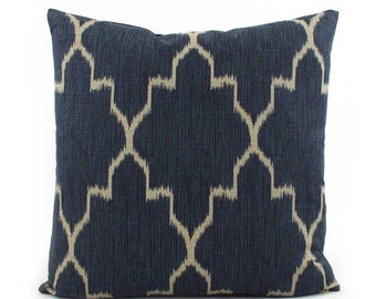 Indigo Blue and Tan Lattice Throw Pillow 18x18, 20x20, 22x22, 24x24 Euro Sham or Lumbar, Trellis Pillow, Toss Pillow, Lacefield Monaco