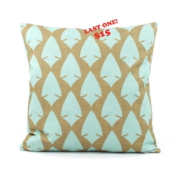 """Rustic Pillow Cover 18x18"""", Blue and Brown Pillow, Teal Pillow, Bow and Arrow, African Pillow, Cabin Decor Pillow, Aerohead"""