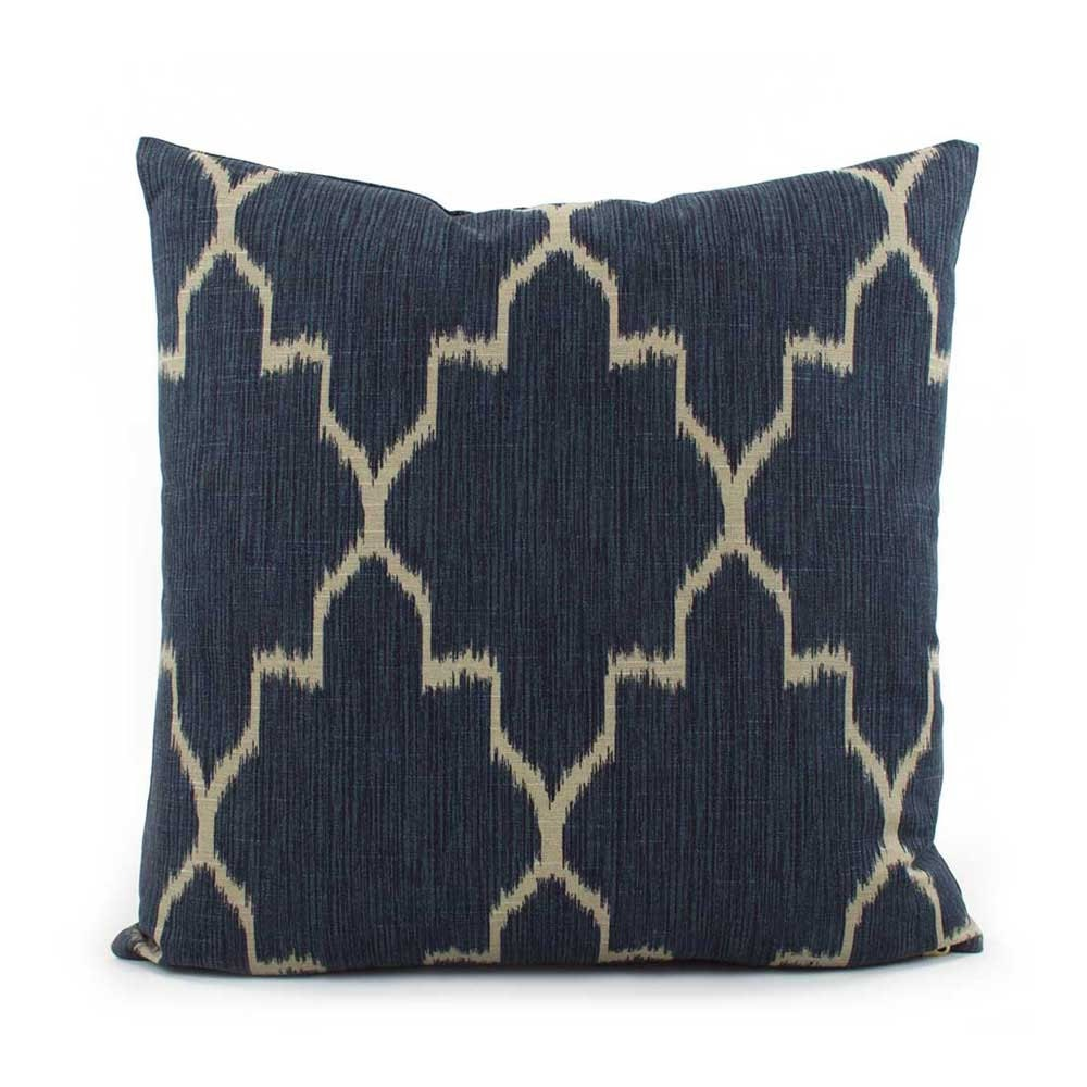 Blue Lattice Throw Pillow : Indigo Blue and Tan Lattice Throw Pillow 18x18 20x20 22x22