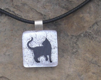 Black Cat Pendant Dichroic Fused Glass Jewelry Cat Necklace