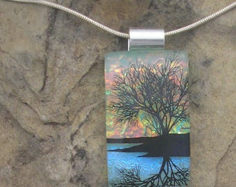 Sunset Reflection Tree Necklace Dichroic Fused Glass Lake Tree Pendant