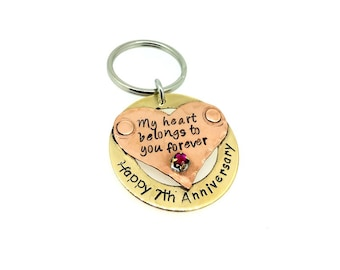 Anniversary Coordinate Keychain, Bronze, Copper, Couples, Boyfriend Gift, Girlfriend, 7th Seven Anniversary, birthstone charm, jewelry