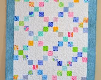 Baby Quilt, Scrappy Pastel Patchwork Quilt, Crib Bedding, blue green Nursery, Baby Shower Gift, Cotton Baby blanket