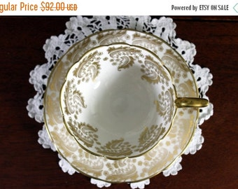 Royal Stafford, Tea Cup and Saucer, Stunning Cabinet Cup, Fancy Gilt Filigree, High Handled 13245
