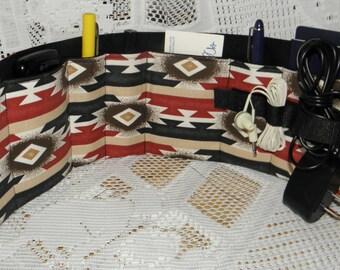 Purse Insert, Flat Organizer Insert, Small Bag Insert, Handbag Organizer, 7 Pockets, Velcro Closure Plus Earbud/Cable Organizer SW Print