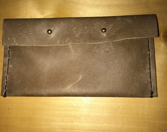 Made to Order Brown soft leather clutch