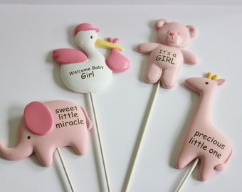 It's a Girl Toppers for Cake, Cupcakes, Centerpieces, Floral Arrangements Party Decor 4 Pieces Resin