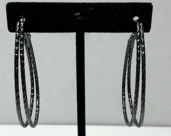 Black Enamel Hoop Earrings