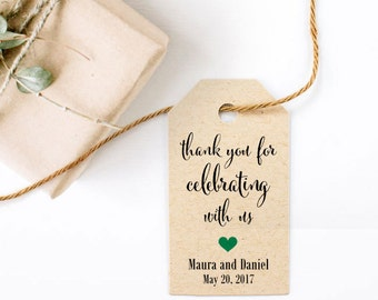 Wedding Favor Tag - Thank You For Celebrating With Us, Party Favor, Thank You Tag, Customized Tags, Size 1.25 x 2.25 inches, Set of 25, CAN