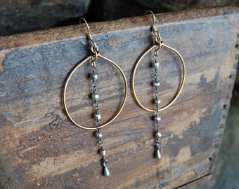 Gold Wire Wrapped Hoop Earrings - Pyrite