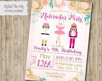 Nutcracker Invitation, Nutcracker Birthday Invitation, Nutcracker, Christmas Birthday, Winter Birthday, Holiday Party, Girl Birthday, Gold