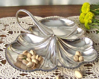 Vintage Nut Dish Candy Dish Walker and Hall Sheffield England Silver Plate Serving Dish Leaf Pattern 1940s
