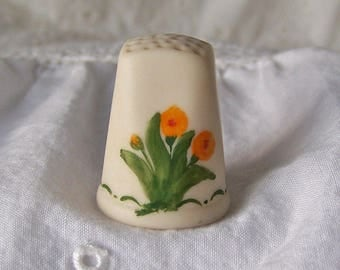 Vintage Thimble Universal Studios Souvenir Signed Numbered Bone China Orange Poppy Thimble Sewing Room Thimble Collector Vintage 1980s