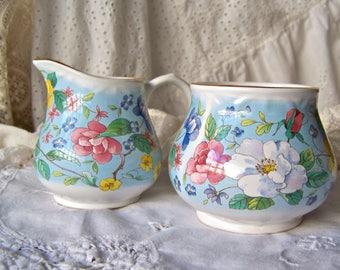 Vintage Cream and Sugar Set Arthur Wood Staffordshire England Sugar Bowl Creamer Sky Blue Vintage 1950s