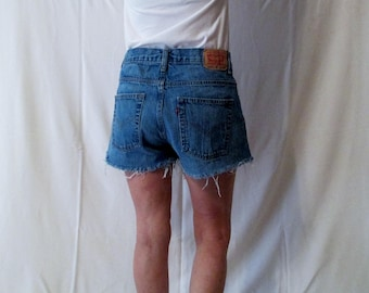 Festival Clothing Levis 550 cut off Shorts High Waist Distressed Vintage Denim frayed fringe Repurposed Jeans