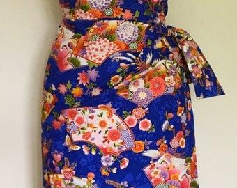 Vintage 1950s inspired blue Hawaiian sarong dress Oriental fans print size XL Rockabilly Viva Pinup