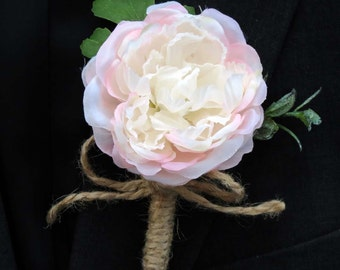 Rustic Boutonniere,  Made to Order, Twine Wrapped Boutonniere, Rustic Fern, Weddings Florals, Proms Flowers, Blush Wedding,
