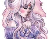 the Last Unicorn Princess Lady Amalthea 80's inspired Watercolor Art Print Carla Wyzgala Carlations